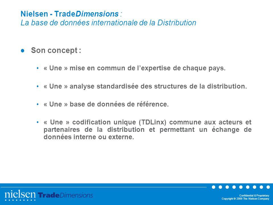 Confidential & Proprietary Copyright © 2009 The Nielsen Company Nielsen - TradeDimensions : La base de données internationale de la Distribution Son c