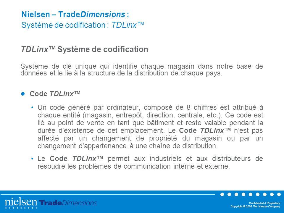 Confidential & Proprietary Copyright © 2009 The Nielsen Company Nielsen – TradeDimensions : Système de codification : TDLinx TDLinx Système de codific