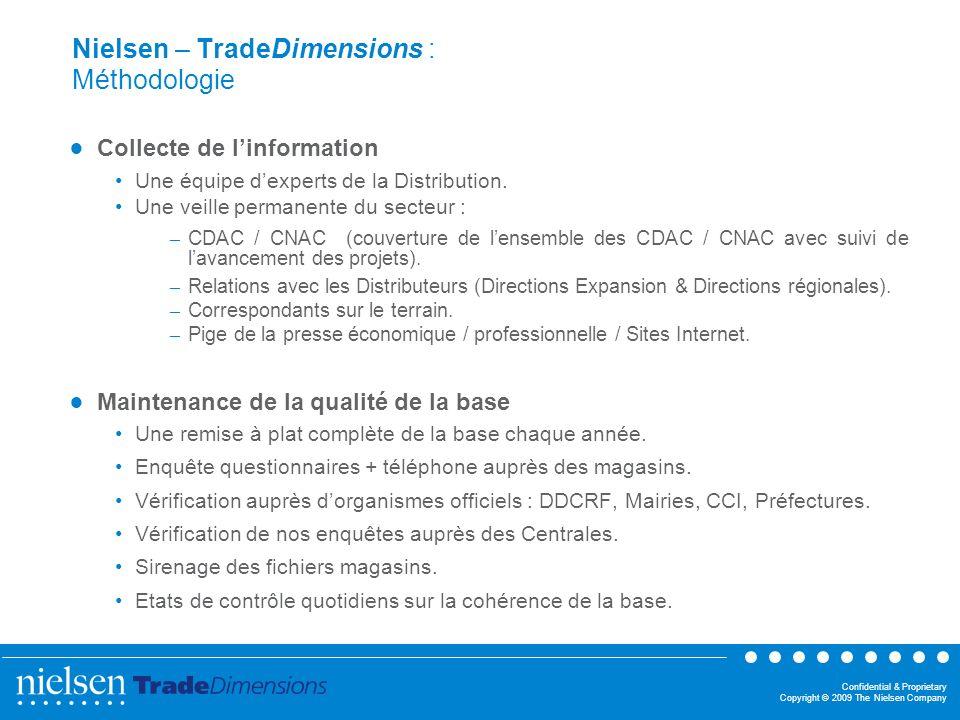 Confidential & Proprietary Copyright © 2009 The Nielsen Company Nielsen – TradeDimensions : Méthodologie Collecte de linformation Une équipe dexperts