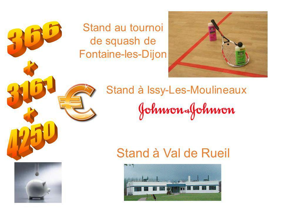 Stand au tournoi de squash de Fontaine-les-Dijon Stand à Val de Rueil Stand à Issy-Les-Moulineaux