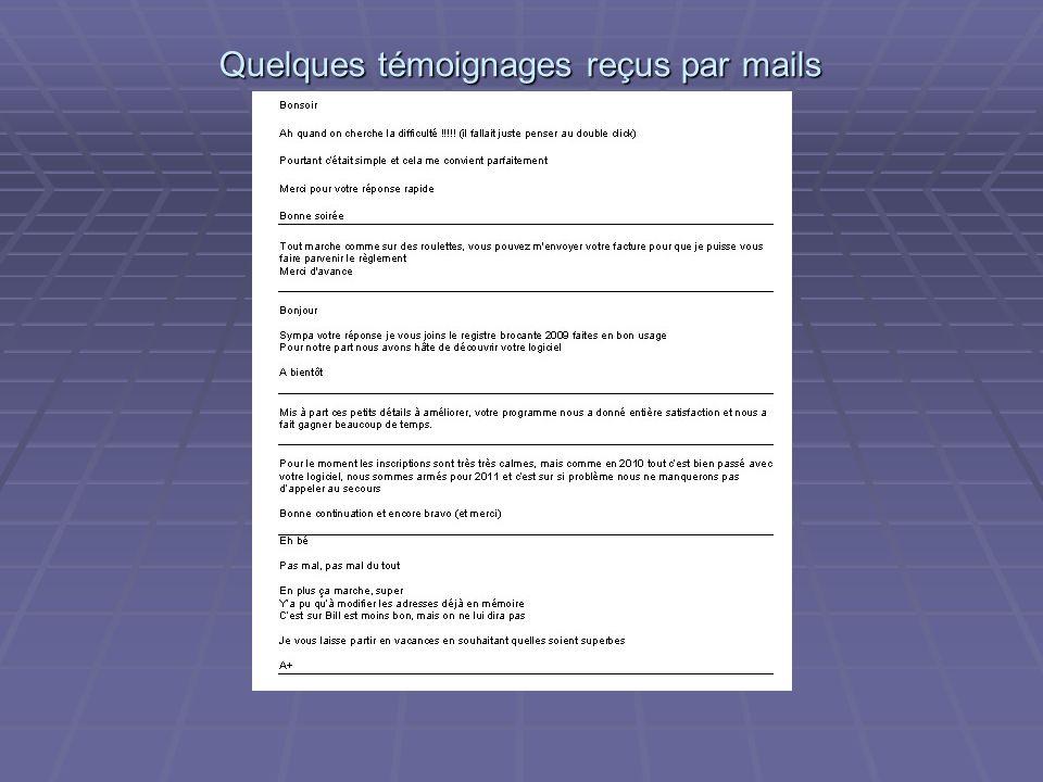 Quelques témoignages reçus par mails