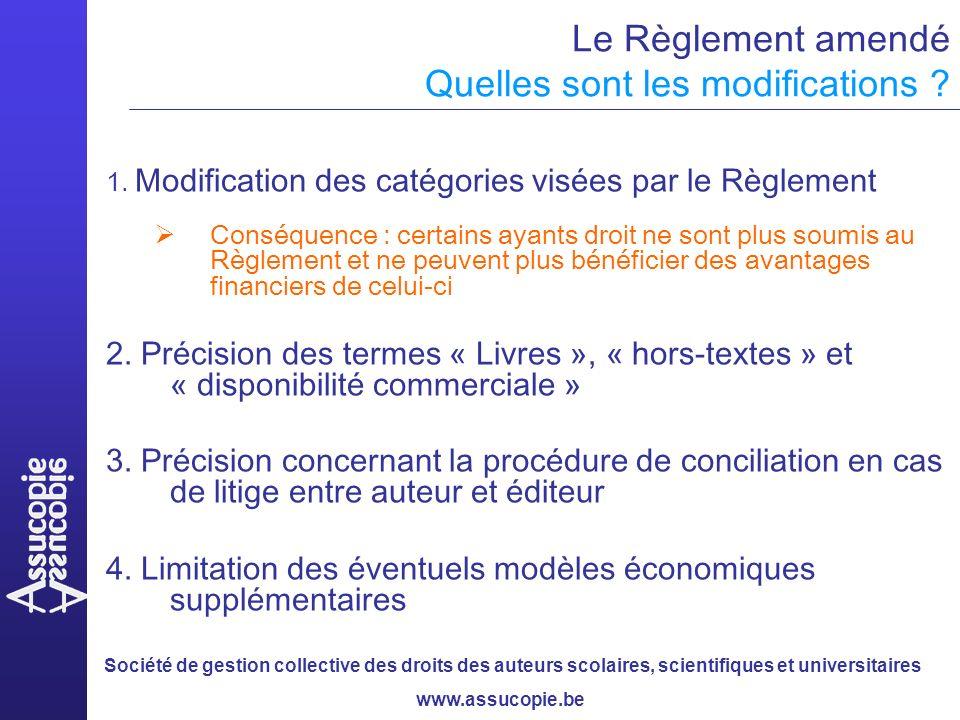Société de gestion collective des droits des auteurs scolaires, scientifiques et universitaires www.assucopie.be Le Règlement amendé Quelles sont les modifications .