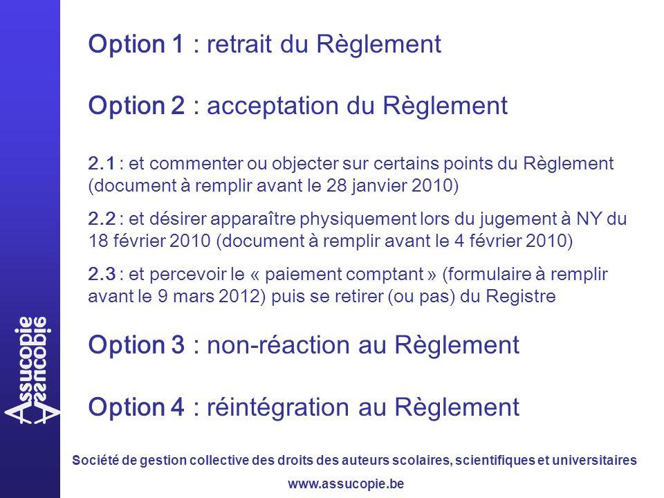 Société de gestion collective des droits des auteurs scolaires, scientifiques et universitaires www.assucopie.be Option 1 : retrait du Règlement Option 2 : acceptation du Règlement 2.1 : et commenter ou objecter sur certains points du Règlement (document à remplir avant le 28 janvier 2010) 2.2 : et désirer apparaître physiquement lors du jugement à NY du 18 février 2010 (document à remplir avant le 4 février 2010) 2.3 : et percevoir le « paiement comptant » (formulaire à remplir avant le 9 mars 2012) puis se retirer (ou pas) du Registre Option 3 : non-réaction au Règlement Option 4 : réintégration au Règlement