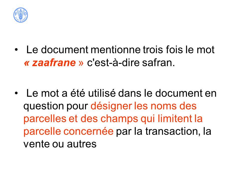 Le document mentionne trois fois le mot « zaafrane » c'est-à-dire safran. Le mot a été utilisé dans le document en question pour désigner les noms des