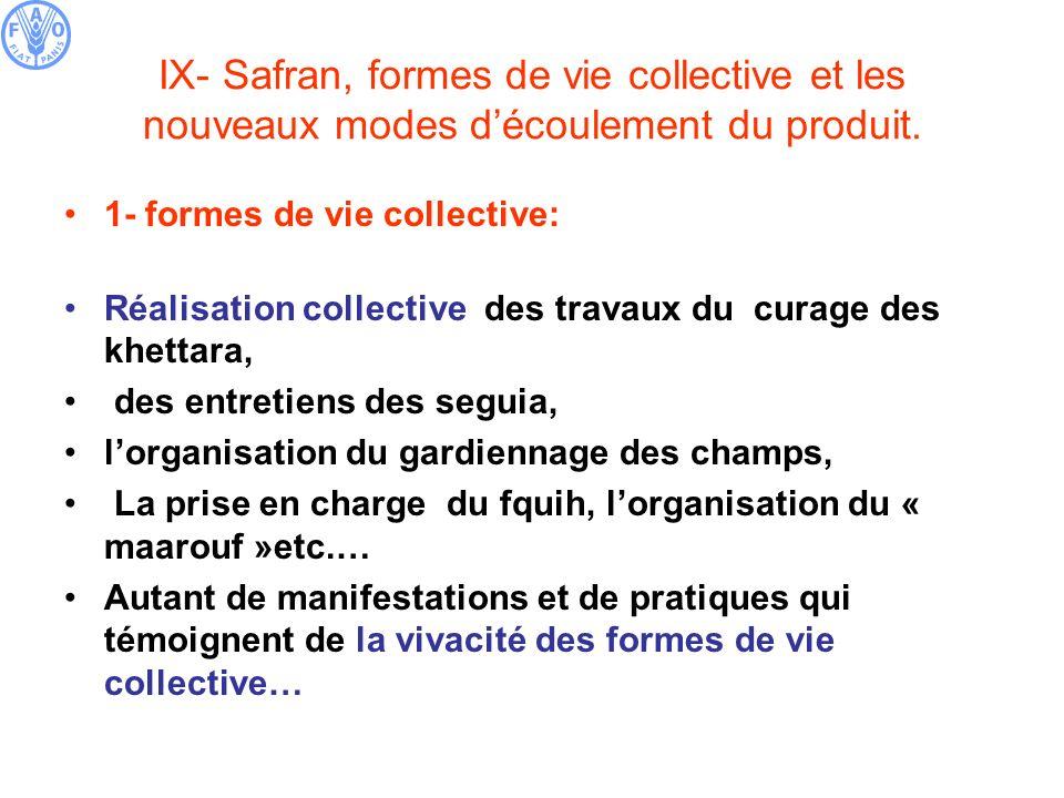 IX- Safran, formes de vie collective et les nouveaux modes découlement du produit. 1- formes de vie collective: Réalisation collective des travaux du