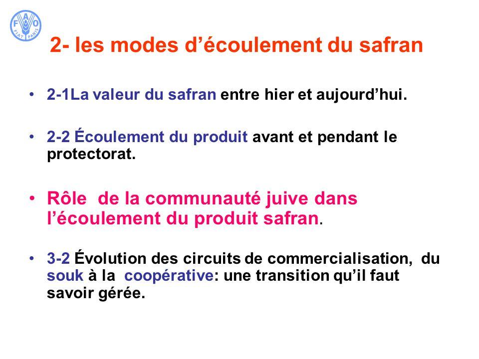 2- les modes découlement du safran 2-1La valeur du safran entre hier et aujourdhui. 2-2 Écoulement du produit avant et pendant le protectorat. Rôle de