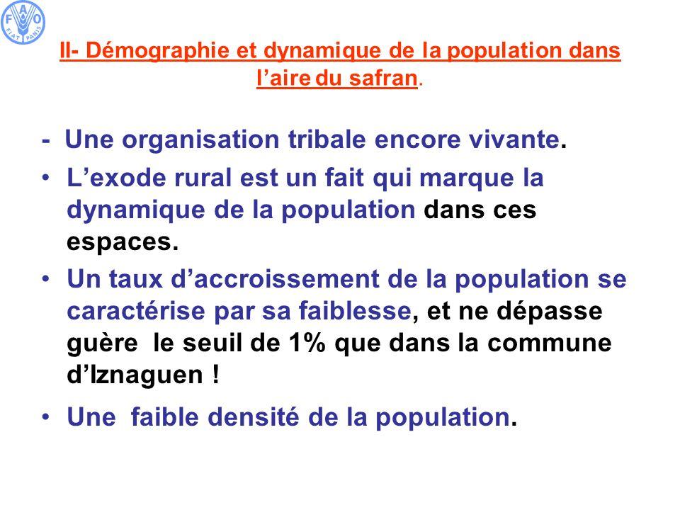 II- Démographie et dynamique de la population dans laire du safran. - Une organisation tribale encore vivante. Lexode rural est un fait qui marque la