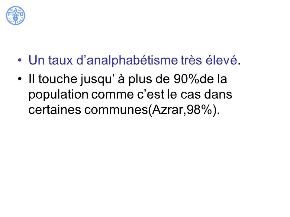 Un taux danalphabétisme très élevé. Il touche jusqu à plus de 90%de la population comme cest le cas dans certaines communes(Azrar,98%).