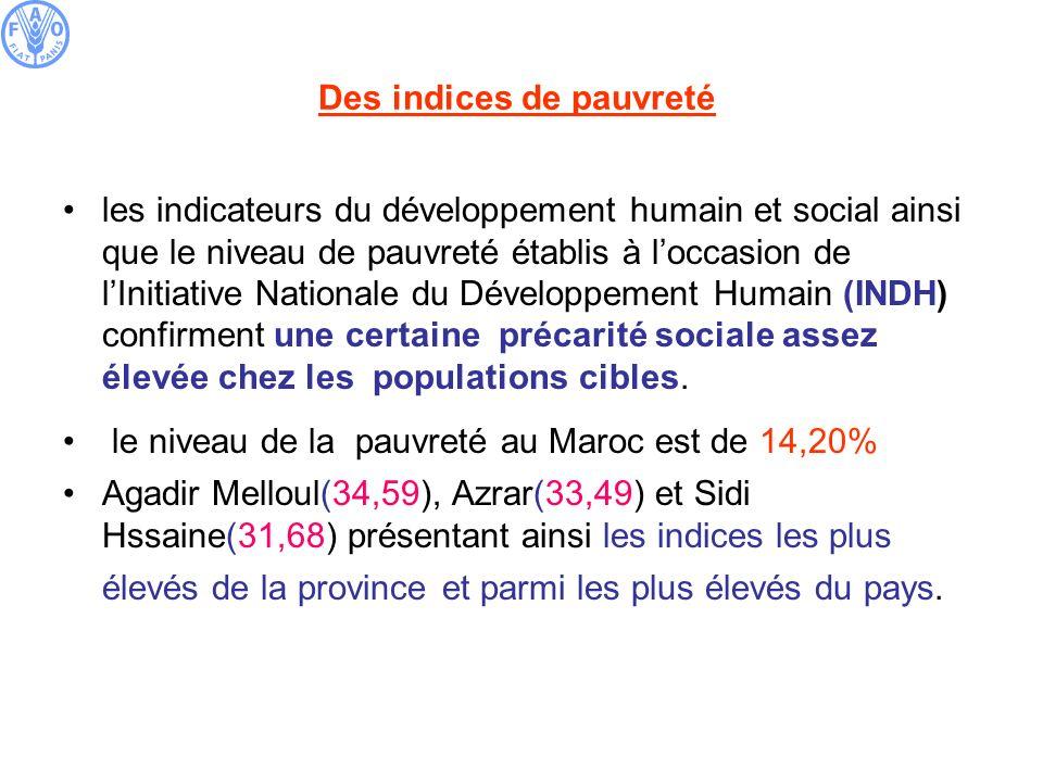 Des indices de pauvreté les indicateurs du développement humain et social ainsi que le niveau de pauvreté établis à loccasion de lInitiative Nationale