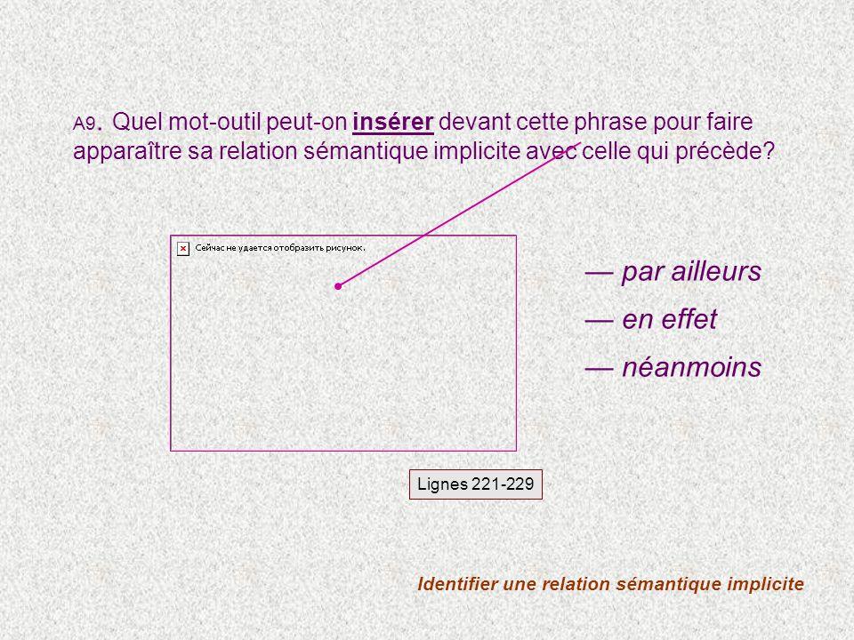 Identifier une relation sémantique explicite Lignes 129-139 voire A8.