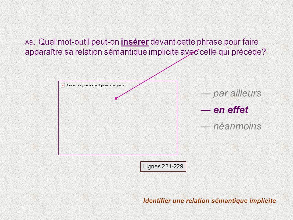 Identifier une relation sémantique implicite Lignes 221-229 A9.