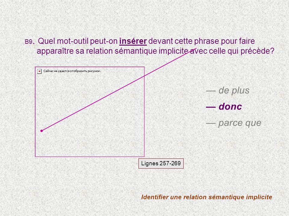 Identifier une relation sémantique implicite Lignes 257-269 B9.