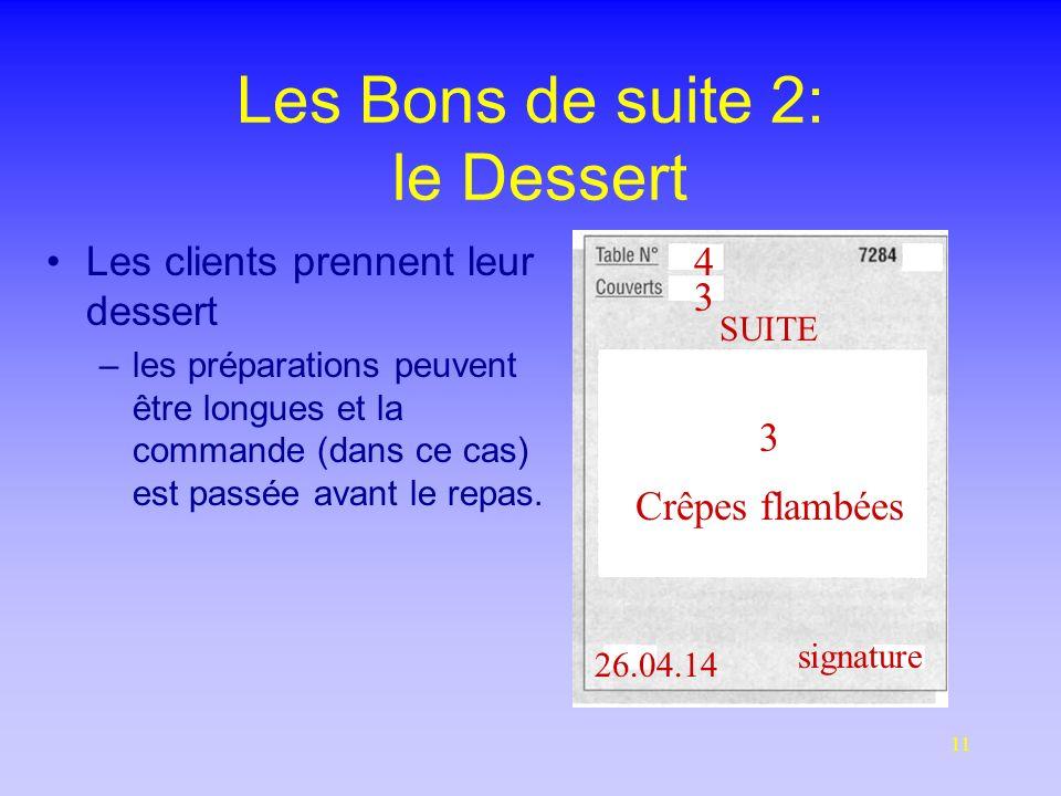 11 Les Bons de suite 2: le Dessert Les clients prennent leur dessert –les préparations peuvent être longues et la commande (dans ce cas) est passée avant le repas.