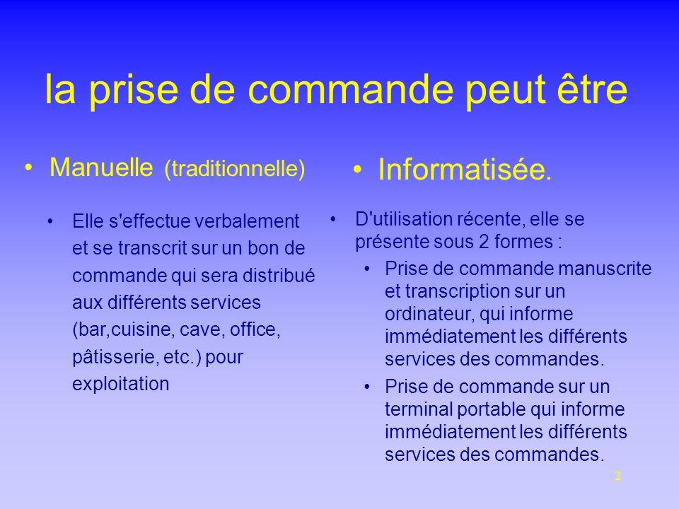 2 la prise de commande peut être Manuelle (traditionnelle) Informatisée.