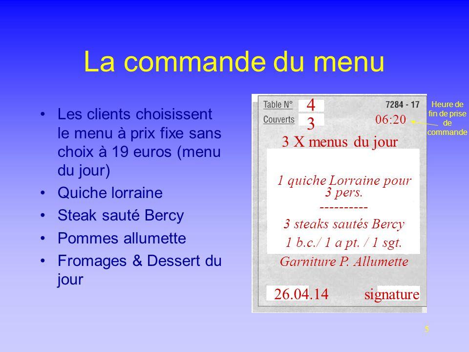5 La commande du menu Les clients choisissent le menu à prix fixe sans choix à 19 euros (menu du jour) Quiche lorraine Steak sauté Bercy Pommes allumette Fromages & Dessert du jour 4 3 3 X menus du jour 06:22 1 quiche Lorraine pour 3 pers.
