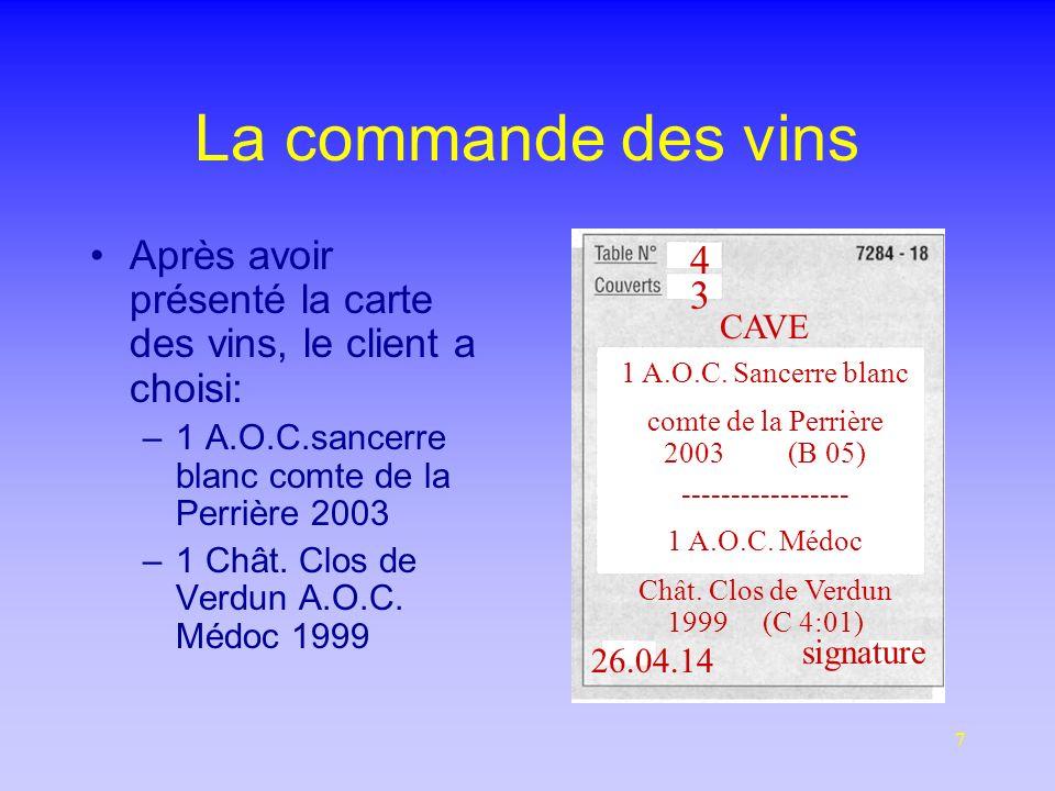 7 La commande des vins Après avoir présenté la carte des vins, le client a choisi: –1 A.O.C.sancerre blanc comte de la Perrière 2003 –1 Chât.
