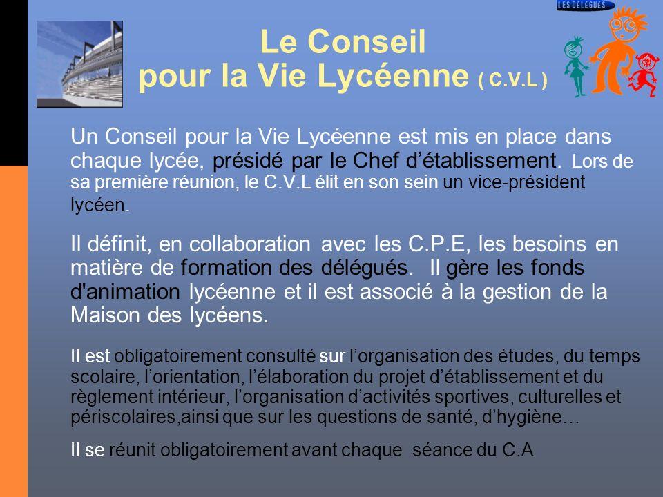 Le Conseil pour la Vie Lycéenne ( C.V.L ) Un Conseil pour la Vie Lycéenne est mis en place dans chaque lycée, présidé par le Chef détablissement. Lors