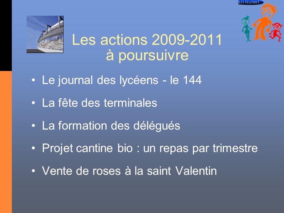 Les actions 2009-2011 à poursuivre Le journal des lycéens - le 144 La fête des terminales La formation des délégués Projet cantine bio : un repas par