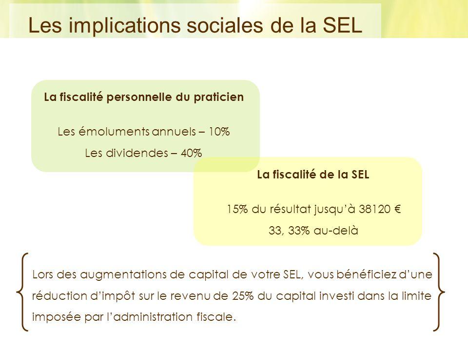 La fiscalité personnelle du praticien Les émoluments annuels – 10% Les dividendes – 40% La fiscalité de la SEL 15% du résultat jusquà 38120 33, 33% au