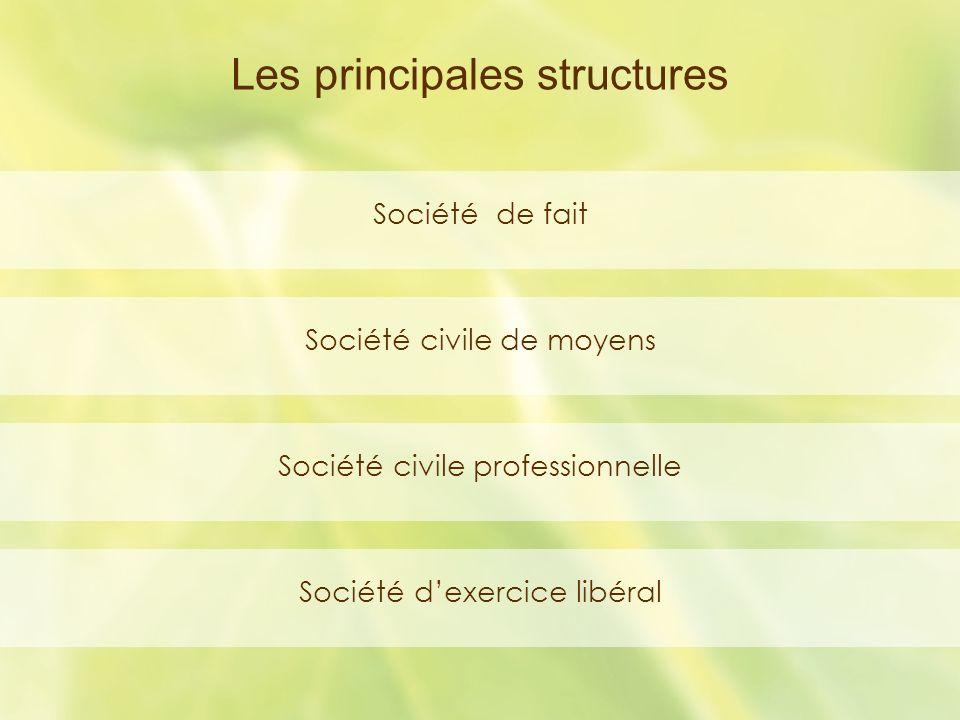Société de fait Société civile de moyens Société civile professionnelle Société dexercice libéral Les principales structures
