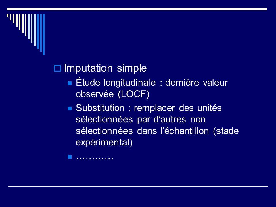 Imputation simple Étude longitudinale : dernière valeur observée (LOCF) Substitution : remplacer des unités sélectionnées par dautres non sélectionnées dans léchantillon (stade expérimental) …………