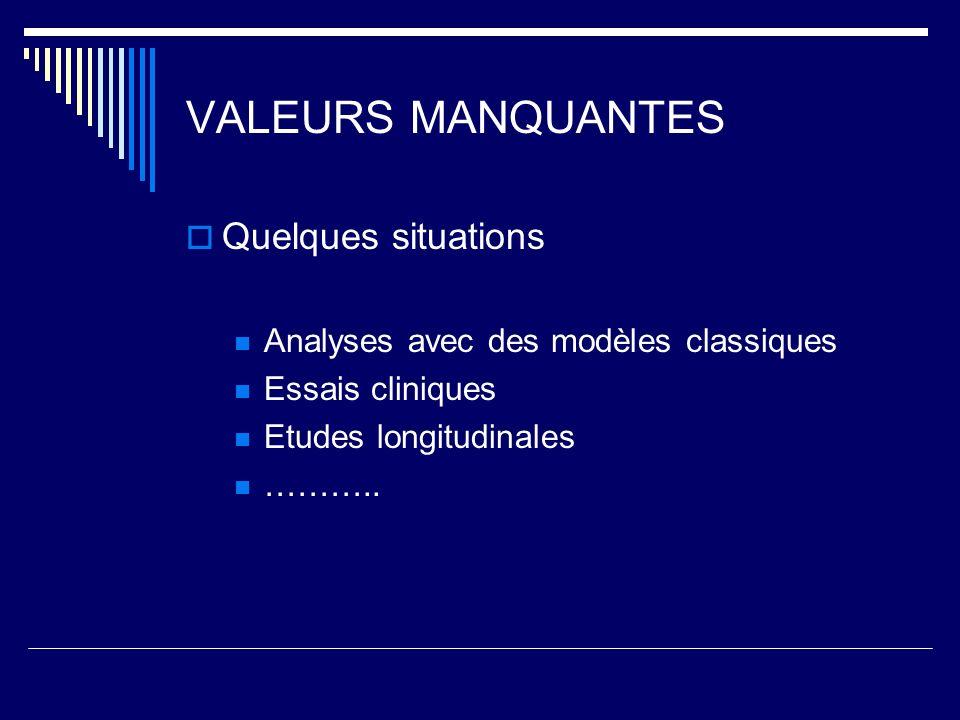 VALEURS MANQUANTES Quelques situations Analyses avec des modèles classiques Essais cliniques Etudes longitudinales ………..
