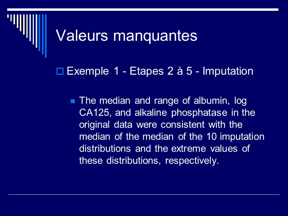 Valeurs manquantes Exemple 1 - Etapes 2 à 5 - Imputation The median and range of albumin, log CA125, and alkaline phosphatase in the original data wer
