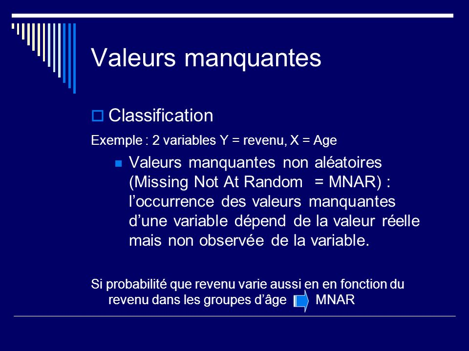 Valeurs manquantes Classification Exemple : 2 variables Y = revenu, X = Age Valeurs manquantes non aléatoires (Missing Not At Random = MNAR) : loccurrence des valeurs manquantes dune variable dépend de la valeur réelle mais non observée de la variable.
