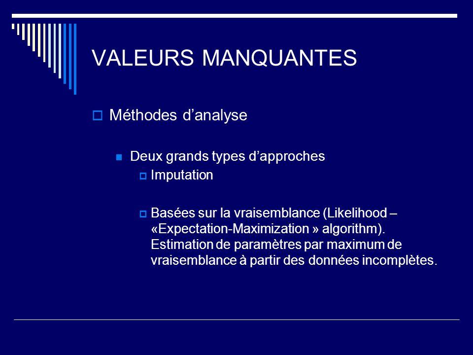 VALEURS MANQUANTES Méthodes danalyse Deux grands types dapproches Imputation Basées sur la vraisemblance (Likelihood – «Expectation-Maximization » algorithm).