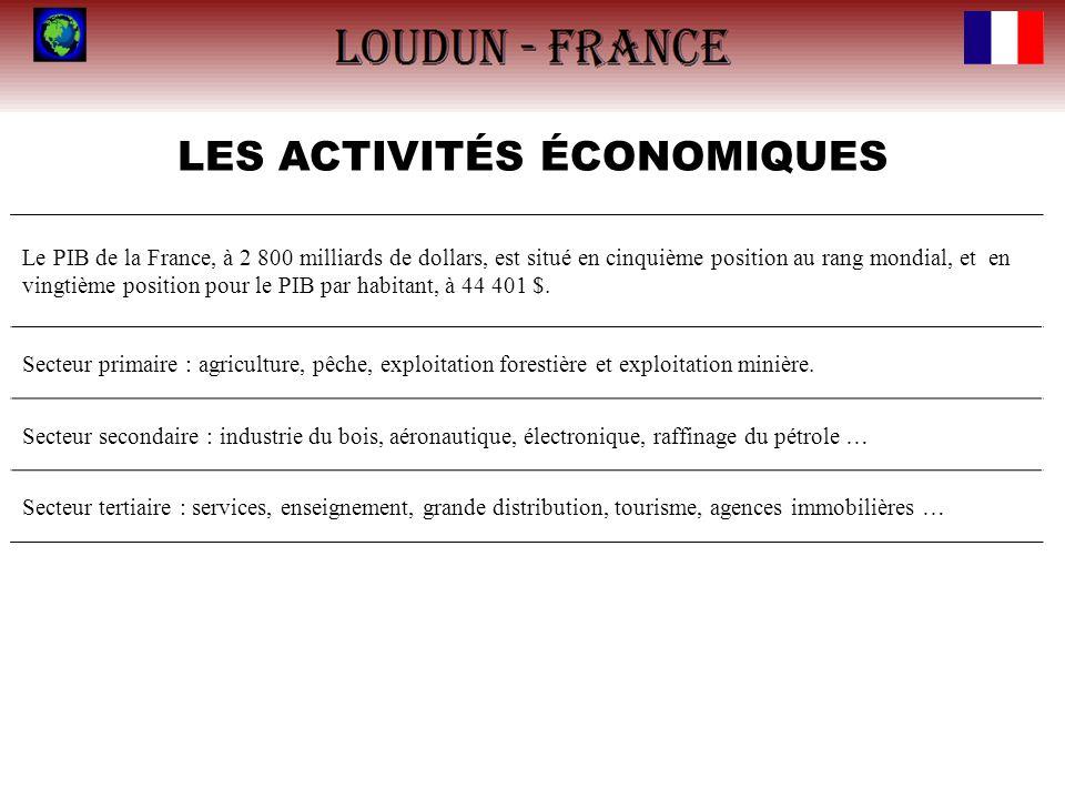 LES ACTIVITÉS ÉCONOMIQUES Le PIB de la France, à 2 800 milliards de dollars, est situé en cinquième position au rang mondial, et en vingtième position