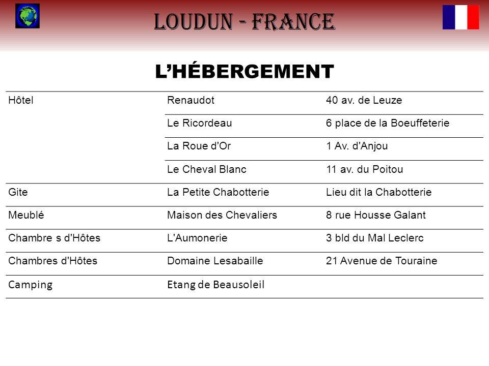 LHÉBERGEMENT HôtelRenaudot40 av. de Leuze Le Ricordeau6 place de la Boeuffeterie La Roue d'Or1 Av. d'Anjou Le Cheval Blanc11 av. du Poitou GiteLa Peti
