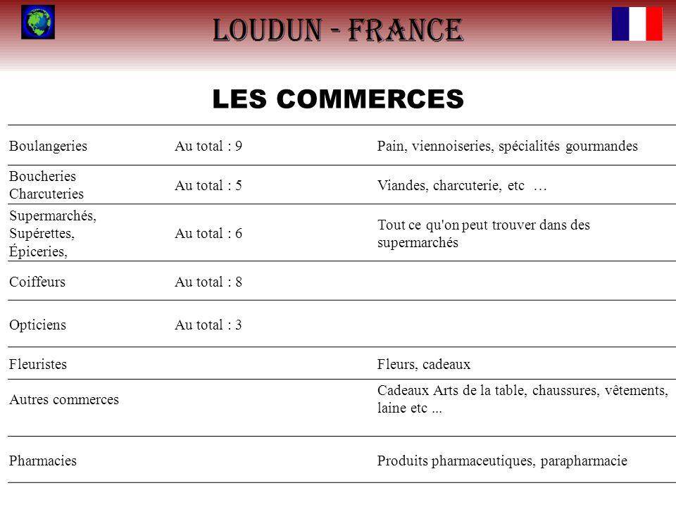LES COMMERCES BoulangeriesAu total : 9Pain, viennoiseries, spécialités gourmandes Boucheries Charcuteries Au total : 5Viandes, charcuterie, etc … Supe