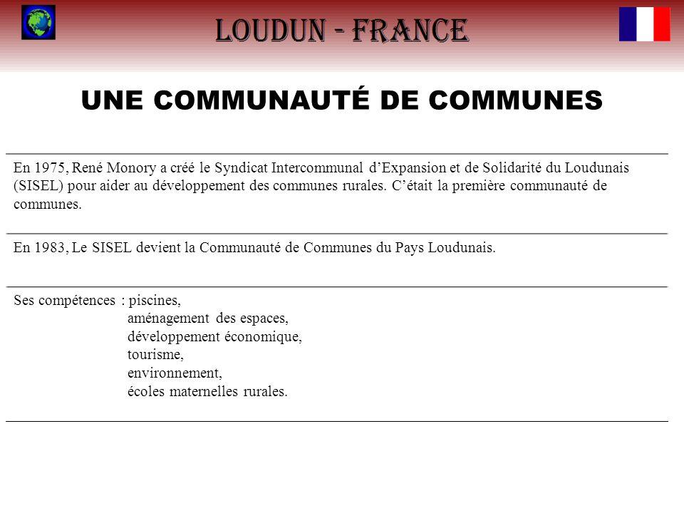 UNE COMMUNAUTÉ DE COMMUNES En 1975, René Monory a créé le Syndicat Intercommunal dExpansion et de Solidarité du Loudunais (SISEL) pour aider au dévelo