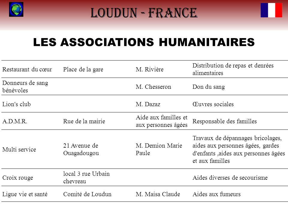LES ASSOCIATIONS HUMANITAIRES Restaurant du cœurPlace de la gareM. Rivière Distribution de repas et denrées alimentaires Donneurs de sang bénévoles M.