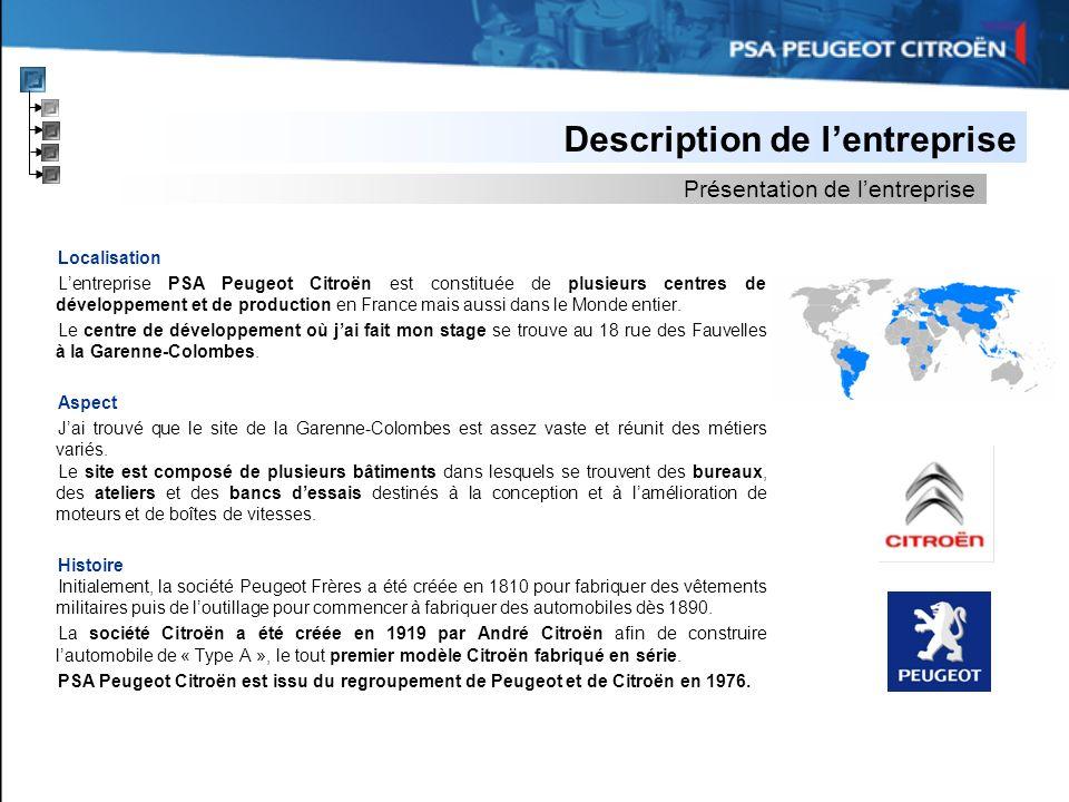 Description de lentreprise Localisation Lentreprise PSA Peugeot Citroën est constituée de plusieurs centres de développement et de production en Franc