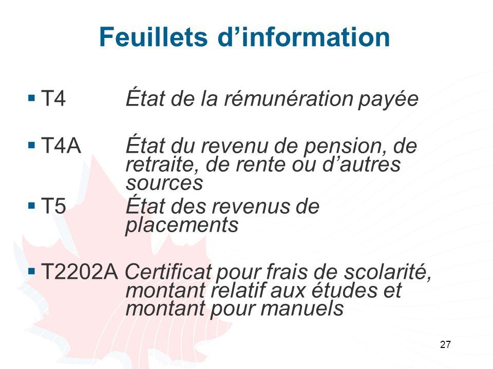 27 Feuillets dinformation T4 État de la rémunération payée T4A État du revenu de pension, de retraite, de rente ou dautres sources T5État des revenus