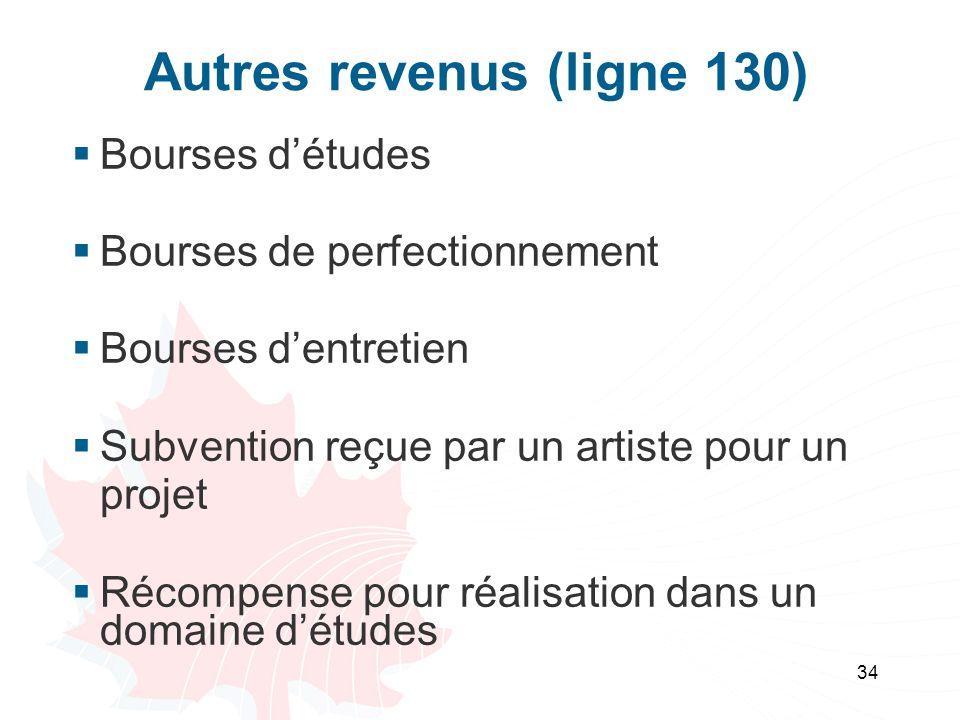 34 Autres revenus (ligne 130) Bourses détudes Bourses de perfectionnement Bourses dentretien Subvention reçue par un artiste pour un projet Récompense