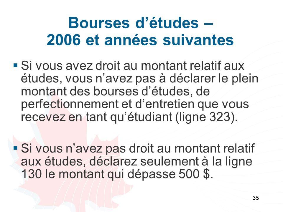 35 Bourses détudes – 2006 et années suivantes Si vous avez droit au montant relatif aux études, vous navez pas à déclarer le plein montant des bourses