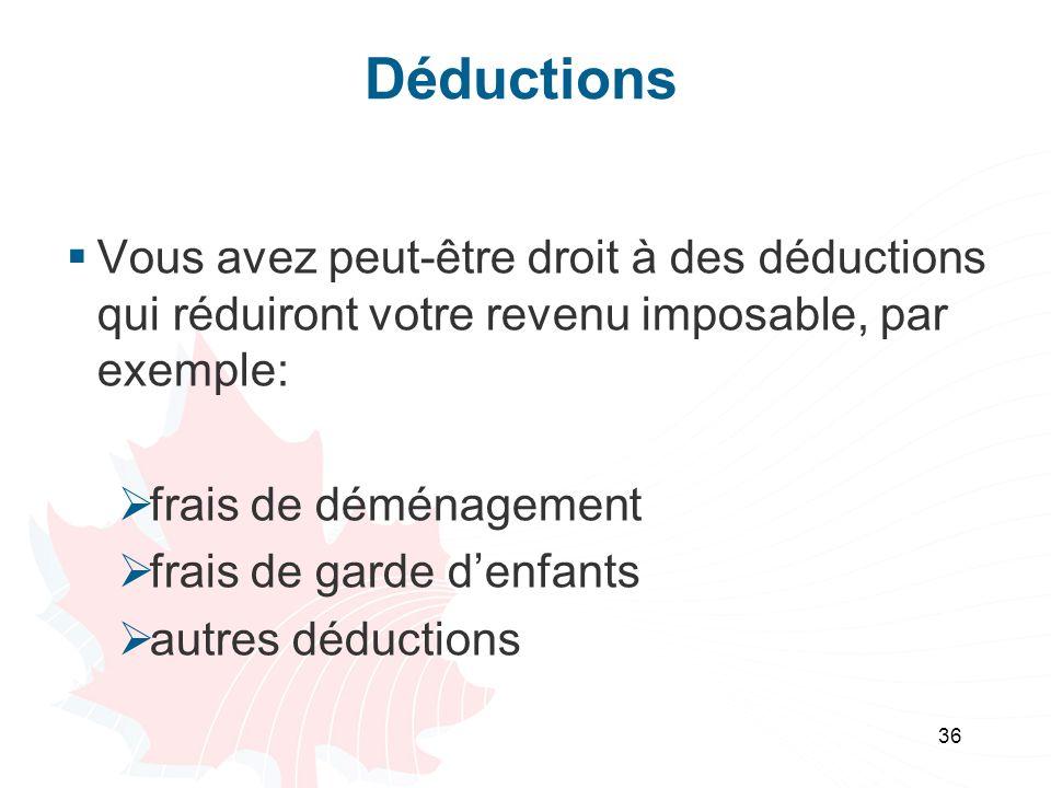 36 Déductions Vous avez peut-être droit à des déductions qui réduiront votre revenu imposable, par exemple: frais de déménagement frais de garde denfa