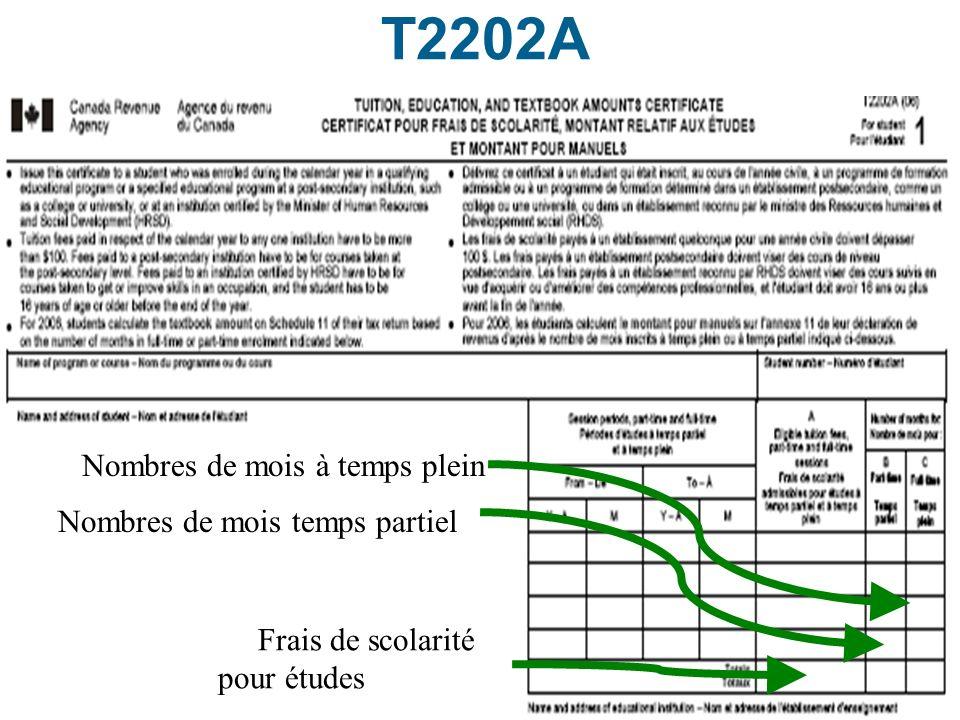 48 T2202A Nombres de mois à temps plein Nombres de mois temps partiel Frais de scolarité pour études