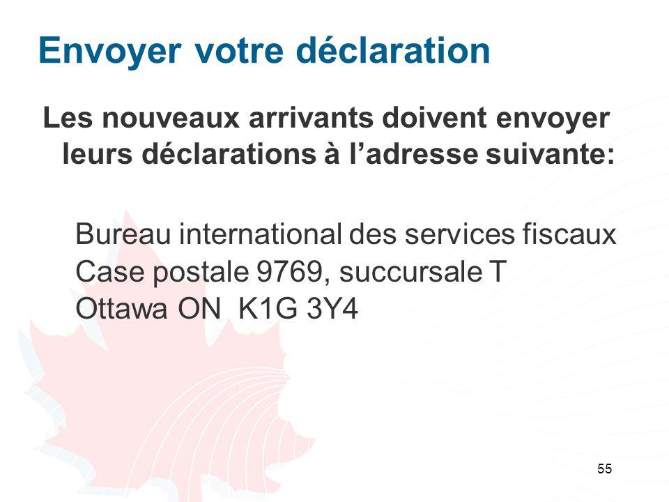 55 Envoyer votre déclaration Les nouveaux arrivants doivent envoyer leurs déclarations à ladresse suivante: Bureau international des services fiscaux