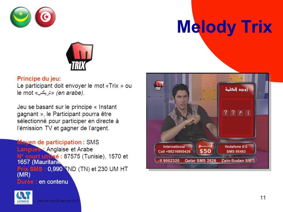 11 Melody Trix Principe du jeu: Le participant doit envoyer le mot «Trix » ou le mot «تريكس» (en arabe).