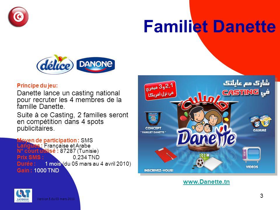 3 Familiet Danette Principe du jeu: Danette lance un casting national pour recruter les 4 membres de la famille Danette.