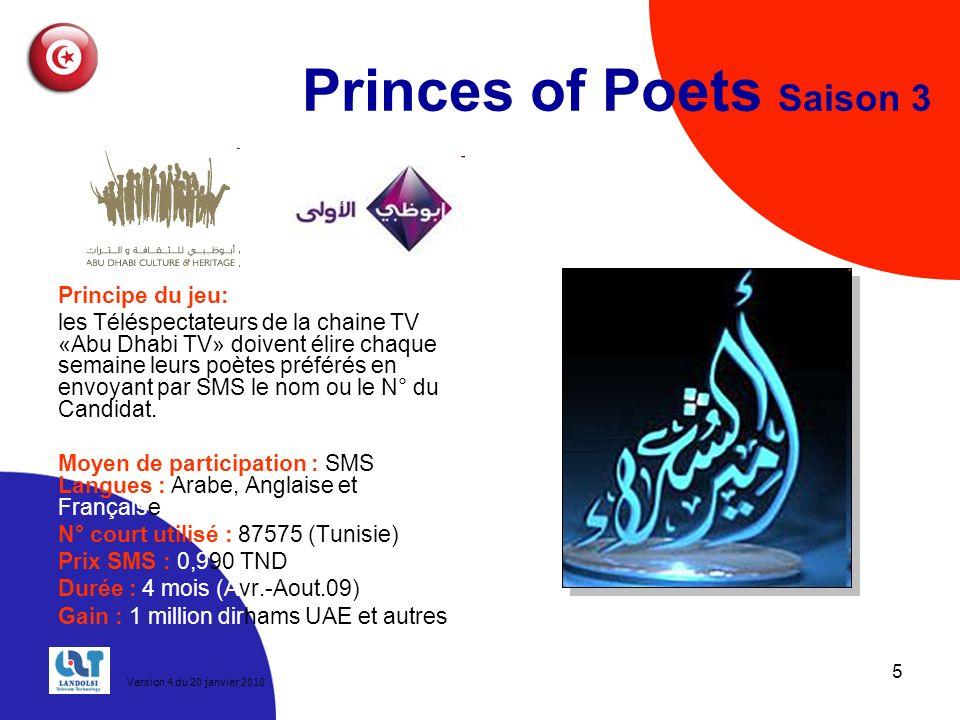 5 Princes of Poets Saison 3 Principe du jeu: les Téléspectateurs de la chaine TV «Abu Dhabi TV» doivent élire chaque semaine leurs poètes préférés en envoyant par SMS le nom ou le N° du Candidat.