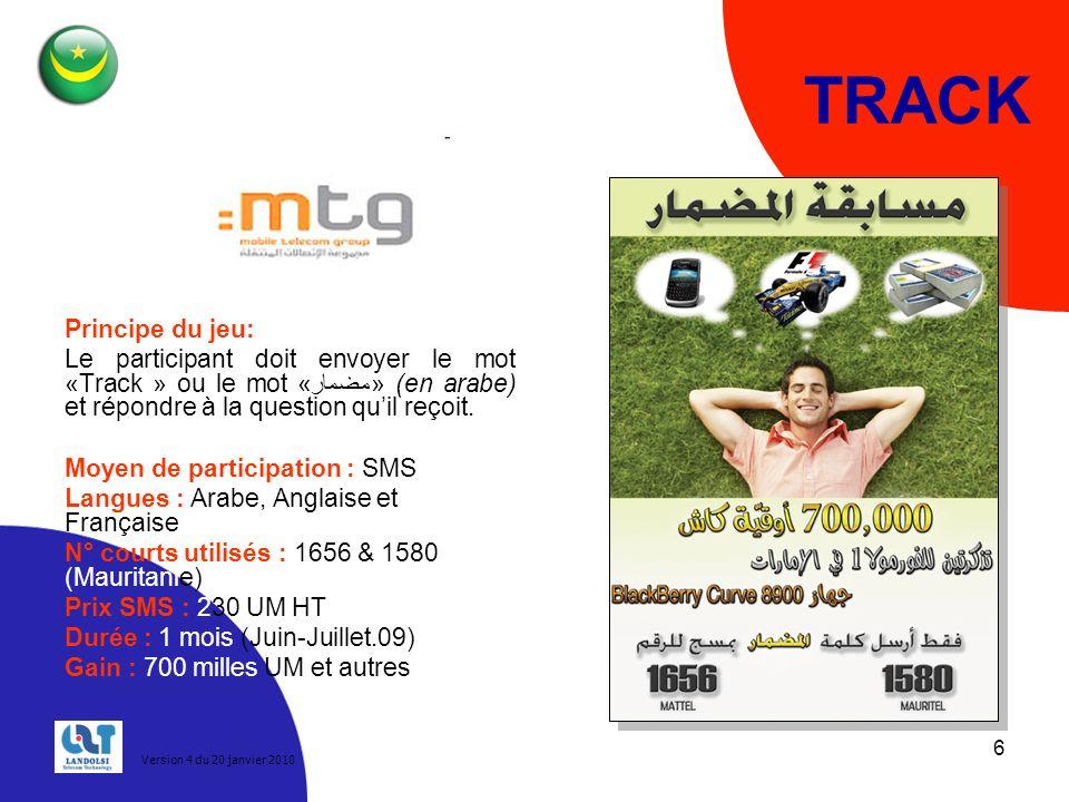 6 TRACK Principe du jeu: Le participant doit envoyer le mot «Track » ou le mot «مضمار» (en arabe) et répondre à la question quil reçoit.