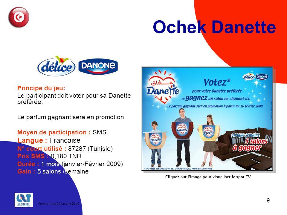 9 Ochek Danette Principe du jeu: Le participant doit voter pour sa Danette préférée.