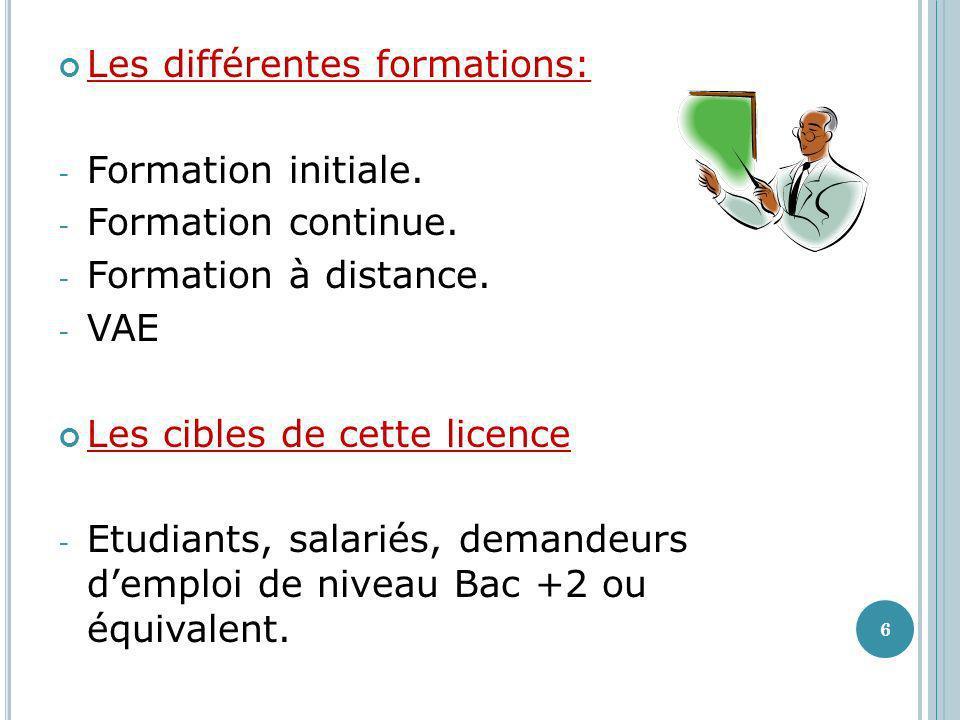Les différentes formations: - Formation initiale. - Formation continue. - Formation à distance. - VAE Les cibles de cette licence - Etudiants, salarié