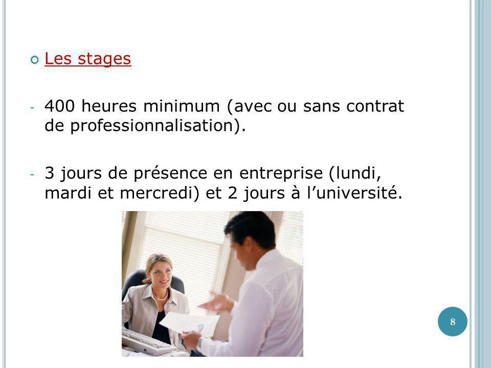 Les stages - 400 heures minimum (avec ou sans contrat de professionnalisation). - 3 jours de présence en entreprise (lundi, mardi et mercredi) et 2 jo