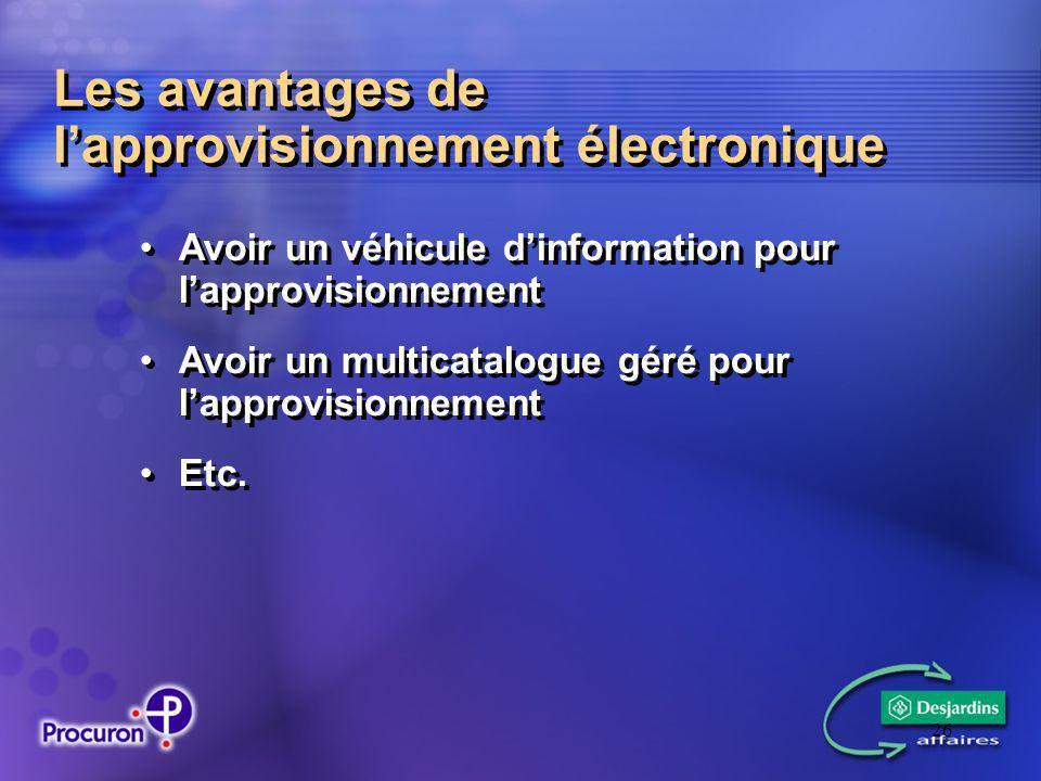 26 Les avantages de lapprovisionnement électronique Avoir un véhicule dinformation pour lapprovisionnement Avoir un multicatalogue géré pour lapprovisionnement Etc.