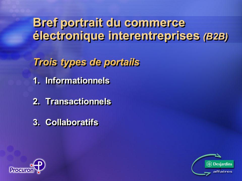 5 Bref portrait du commerce électronique interentreprises (B2B) Trois types de portails 1.Informationnels 2.Transactionnels 3.Collaboratifs Trois types de portails 1.Informationnels 2.Transactionnels 3.Collaboratifs
